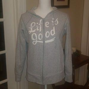 Gray Life is Good zip up hoodie M